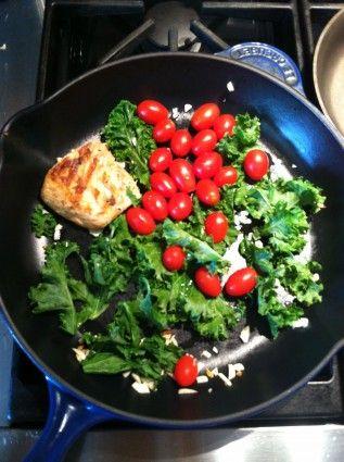Growing Organic Kale with Salmon, Grape Tomatoes, and Garlic