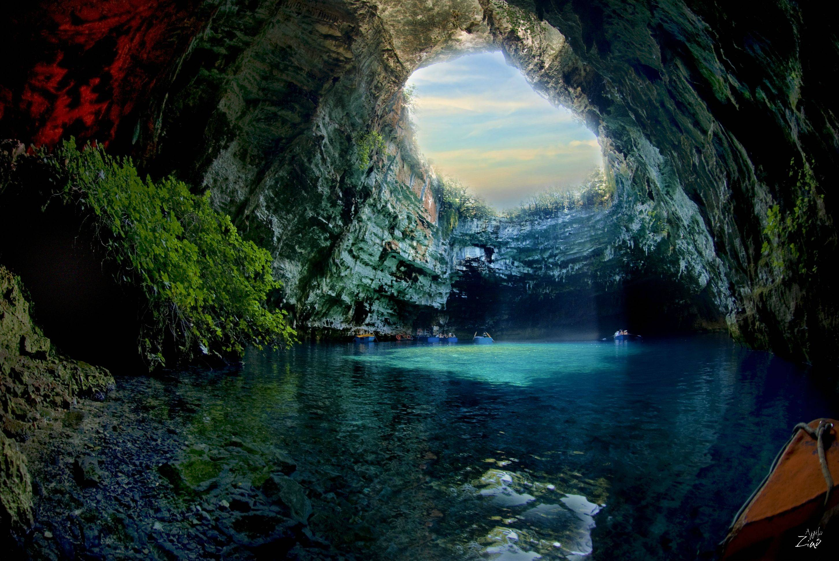 Melissani Cave located in Kefalonia Island, Greece