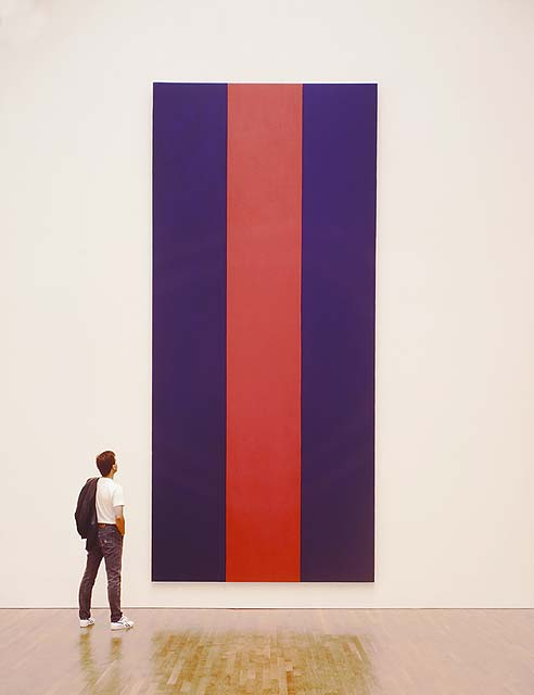12 19 art man viewing barnett newman 39 s voice of fire for Minimalist house reddit