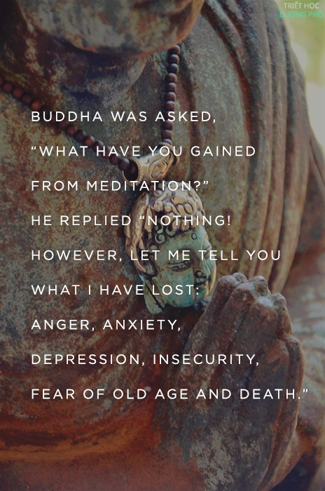 What have you gained through meditation.  The Buddha replied, Nothing at all.  Then, Blessed One, what good is it. Let me tell you what I lost through meditation: sickness, anger, depression, insecurity, the burden of old age, the fear of death. That is the good of meditation, which leads to nirvana.