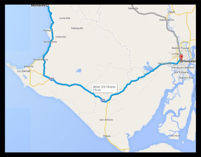 CLP Bus Guayaquil to Montanita Map Guayaquil to Montanita