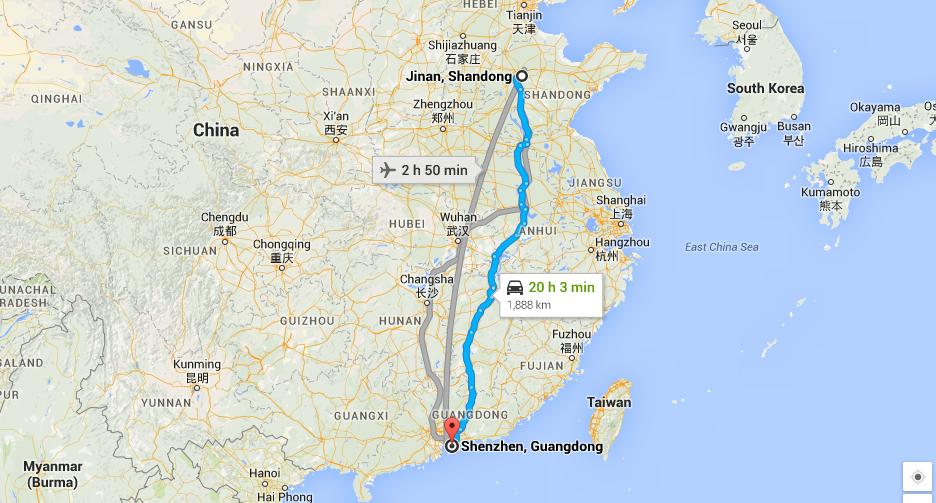 Jinan to Shenzhen China