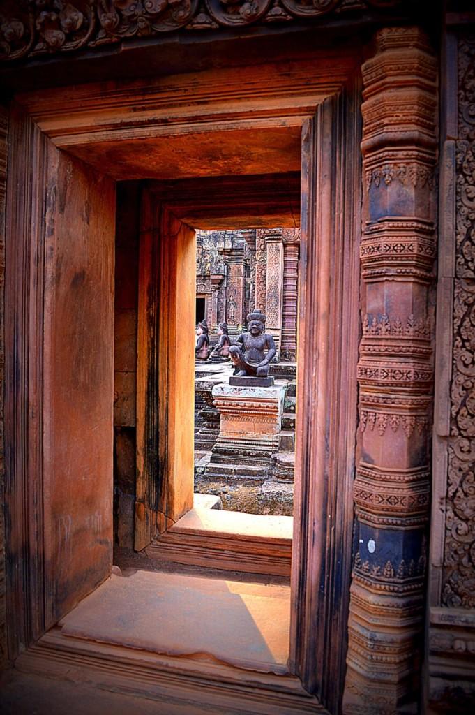 Ancient mythological figures inside the Banteay Srei.