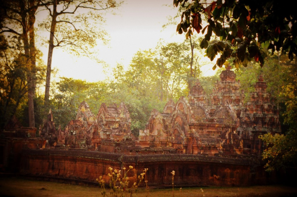 A view of Banteay Srei from the tree under which I was meditating.